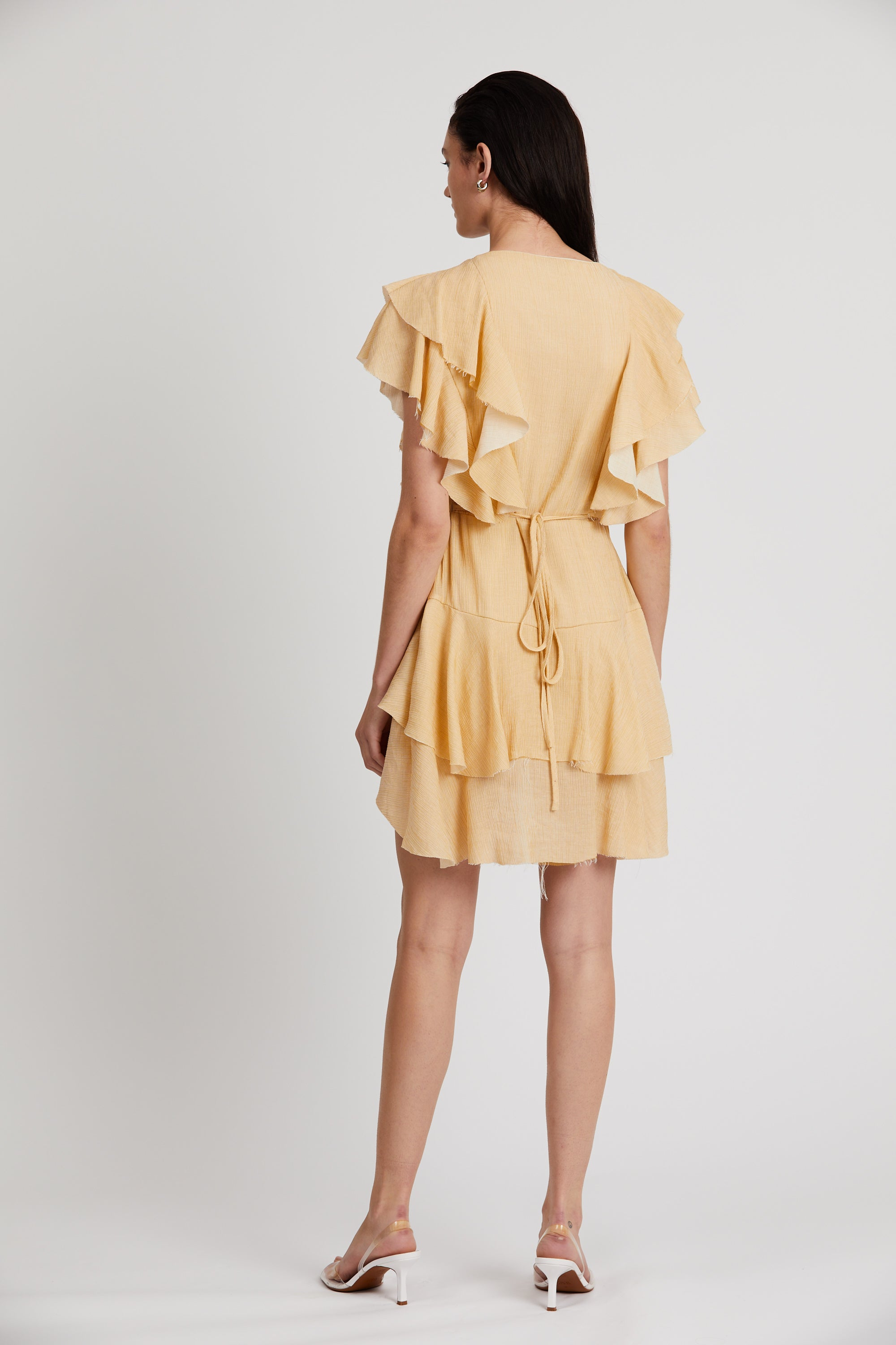 FIZZY FRILL WRAP DRESS | LIME