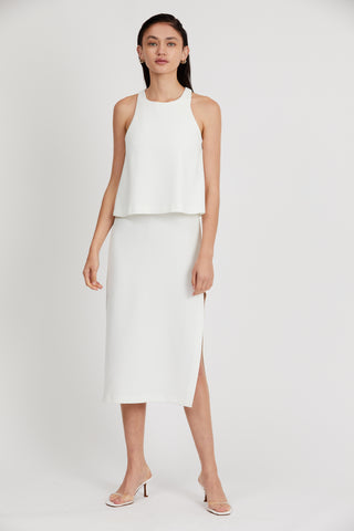 DOUBLE UP HIGH NECK DRESS | OFF WHITE