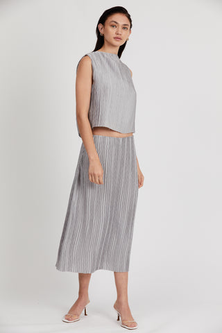 RIPPLE PLEAT MIDI SKIRT | GREY