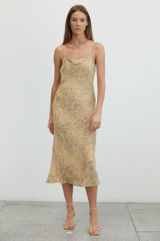 ANIMAL INSTINCTS BIAS SLIP DRESS | SNAKE