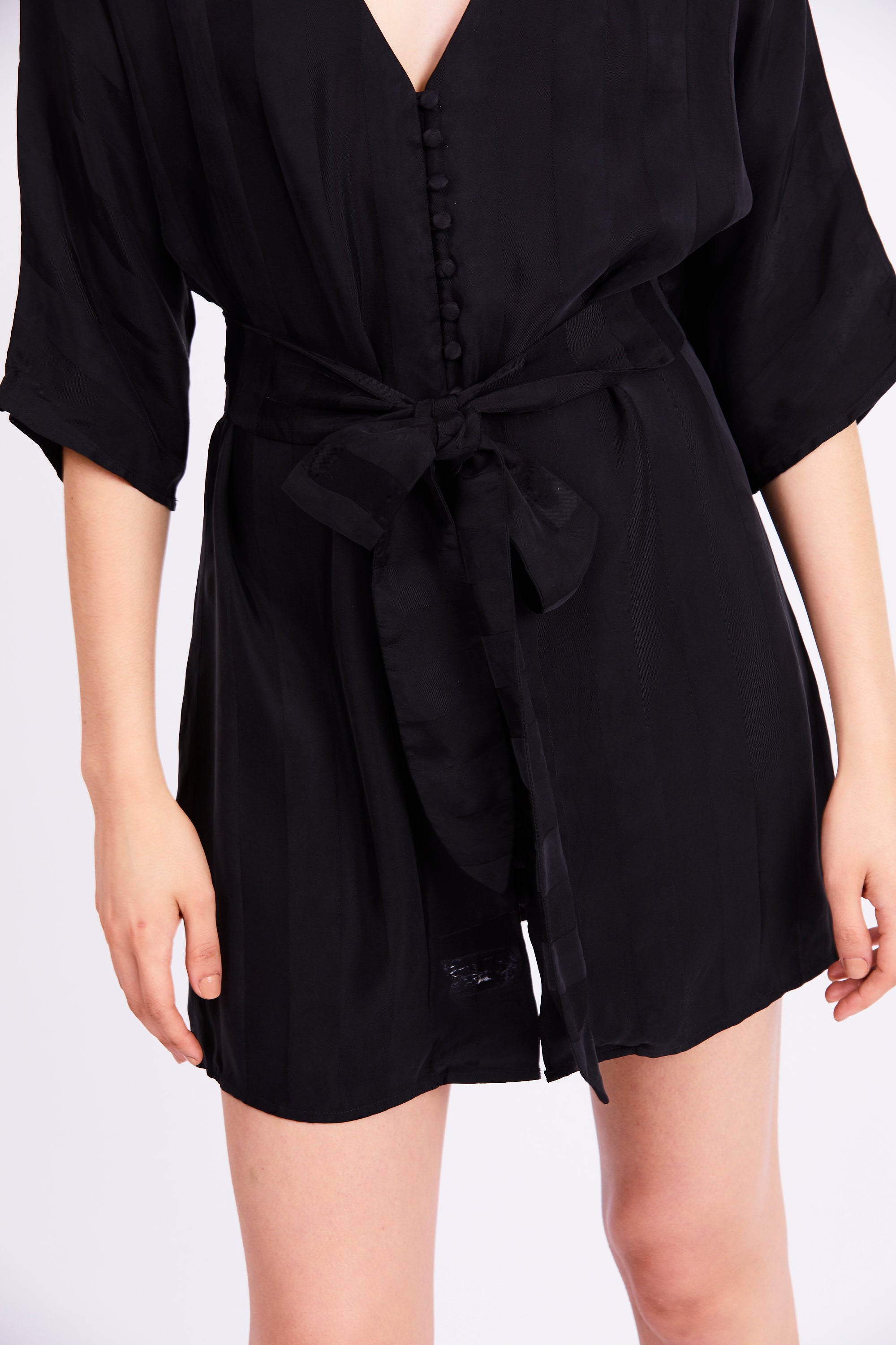 LOOPED IN BATWING DRESS | BLACK STRIPE