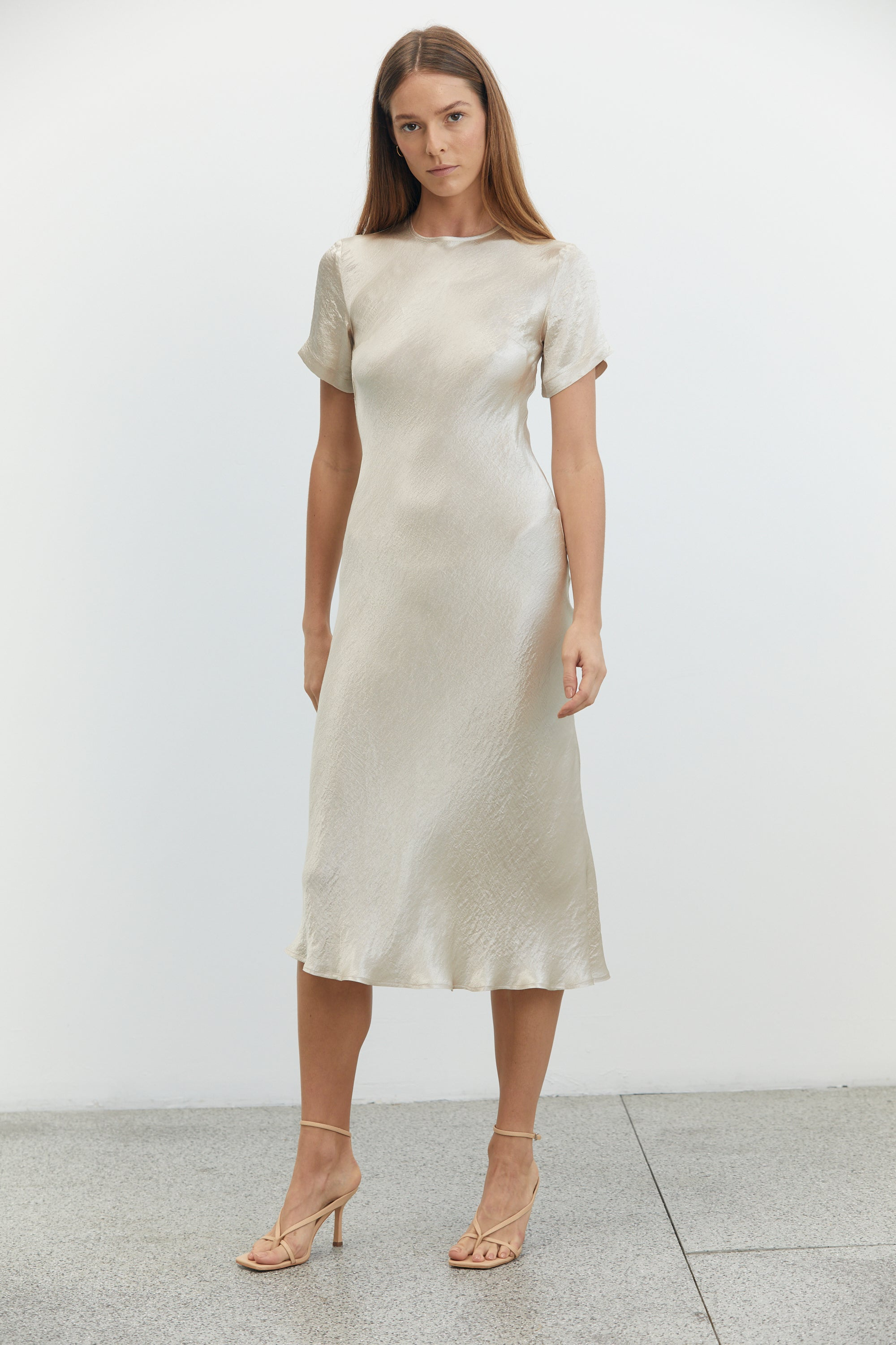 RIVER BED BIAS MIDI TEE DRESS | SAND