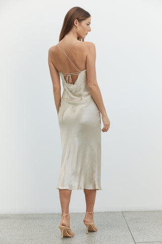 RIVER BED BIAS LACE BACK SLIP | SAND