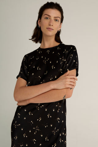 NIGHT BLOSSOM BIAS TEE DRESS | FLORAL