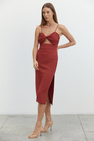 TWIST TOP MIDI DRESS | CRIMSON