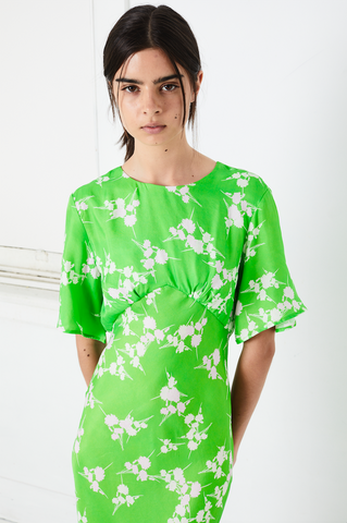 ROLLING FIELDS BIAS TEE MIDI | GREEN GRASS