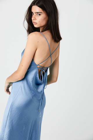 LACE BACK BIAS SLIP DRESS | AEGEAN