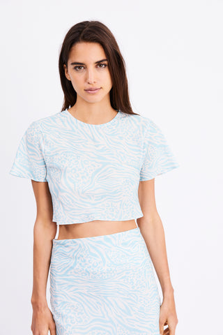SEEKER BIAS CROP TEE | BLUE ZEBRA
