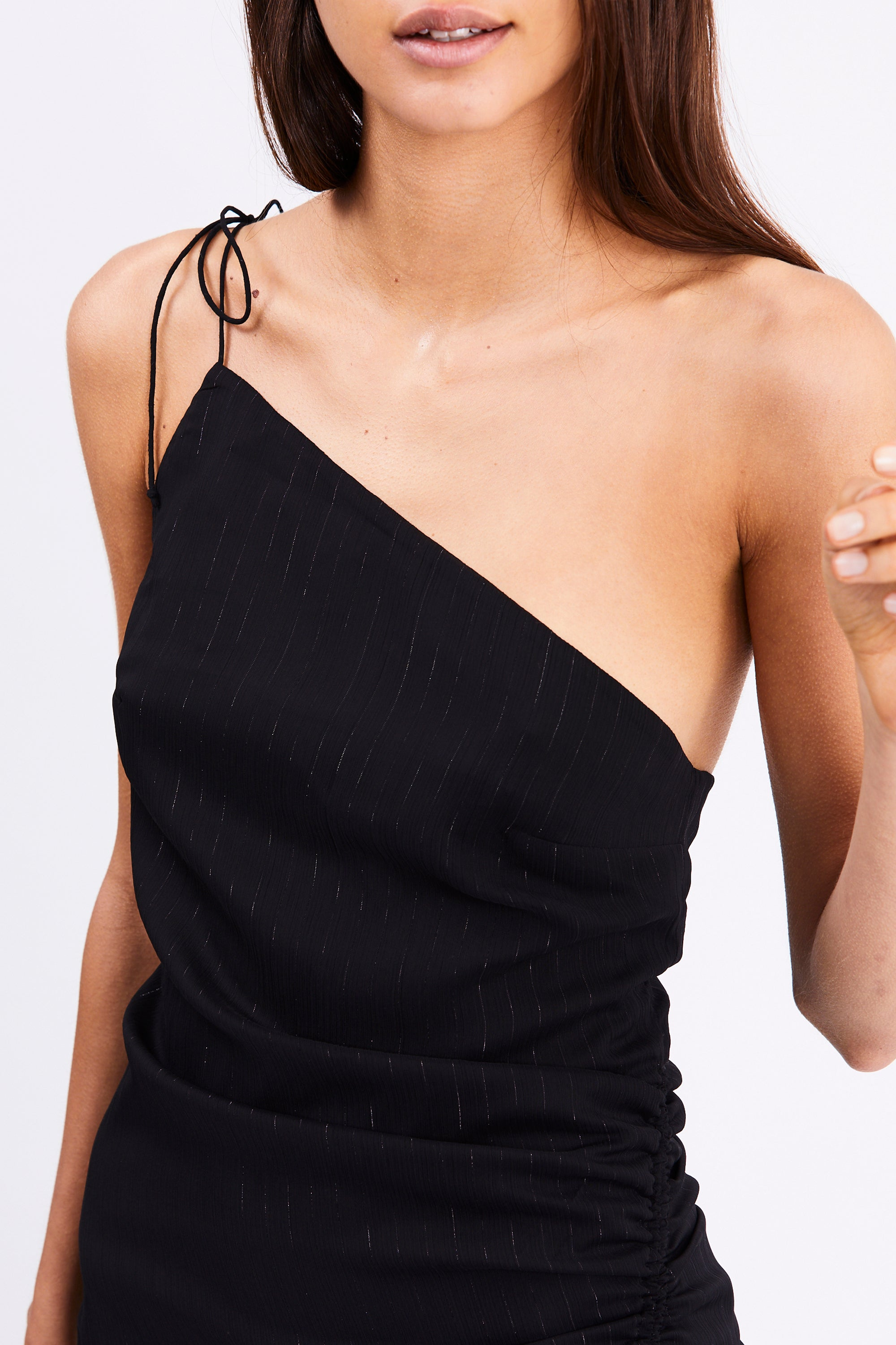 DAY DREAMER ONE SHOULDER DRESS | SILVER STRIPE