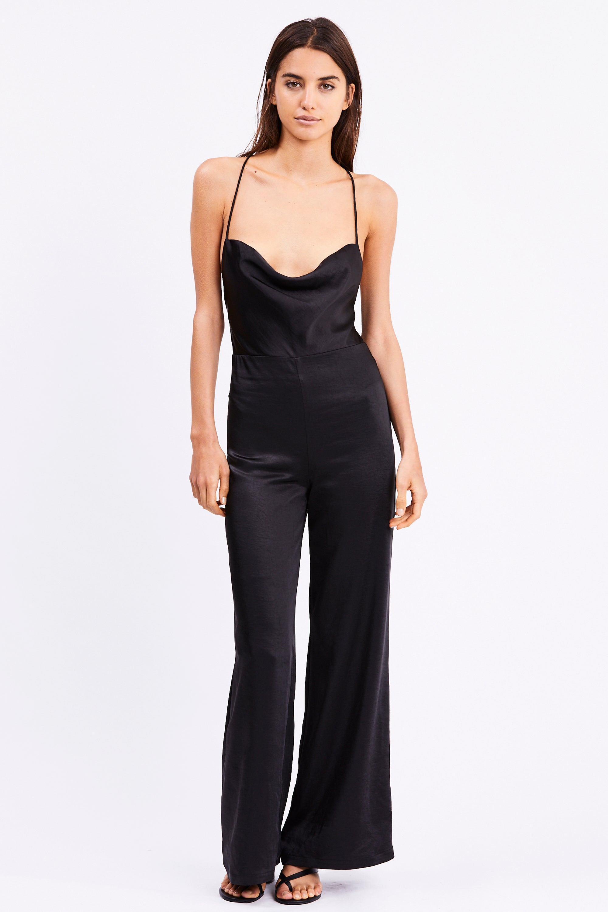 DRIFTER COWL BIAS JUMPSUIT| BLACK