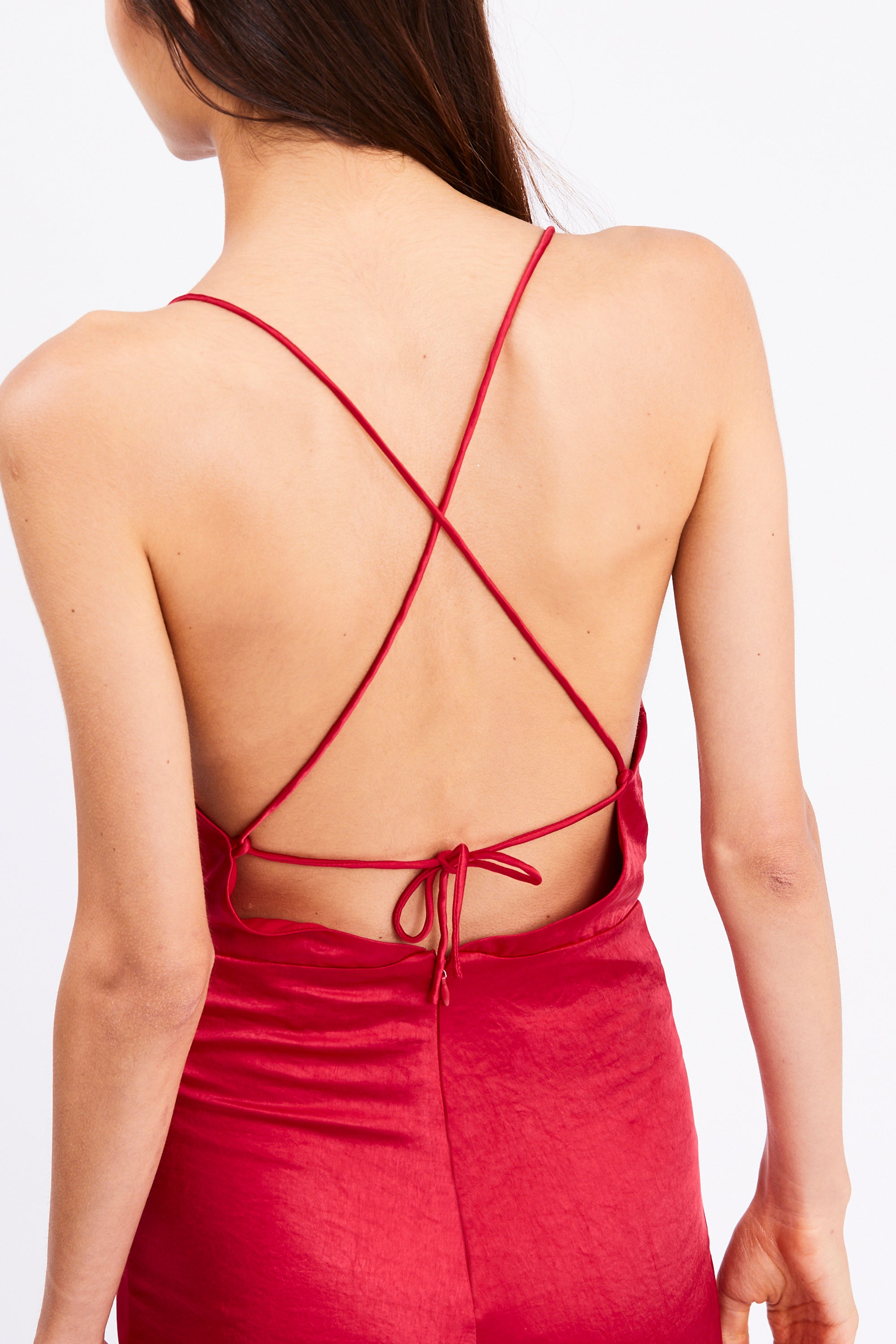DRIFTER COWL BIAS JUMPSUIT | RUBY RED