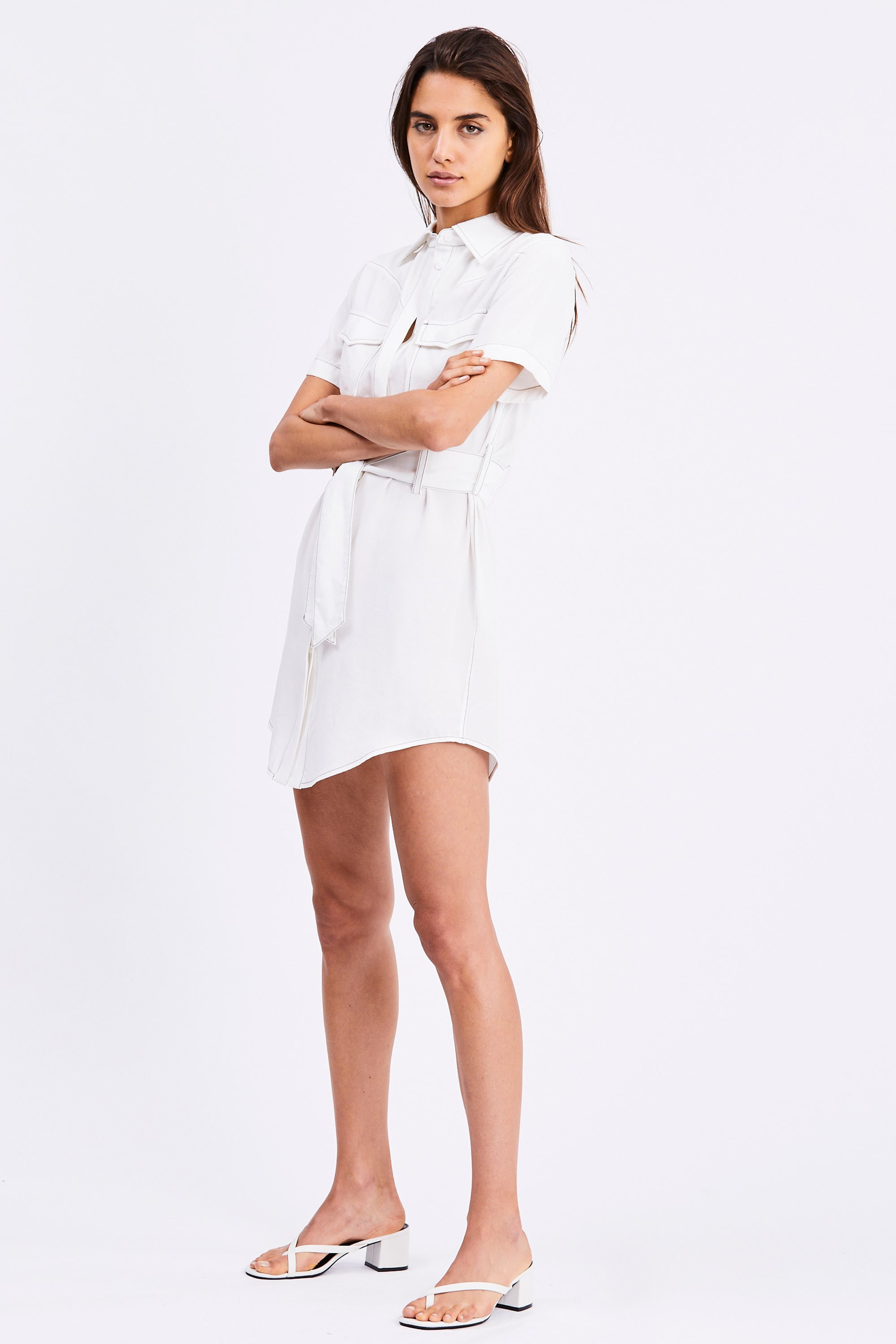 WESTERN SHIRT DRESS | OFF WHITE