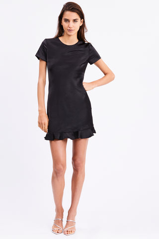 FRILLED BIAS TEE DRESS | BLACK