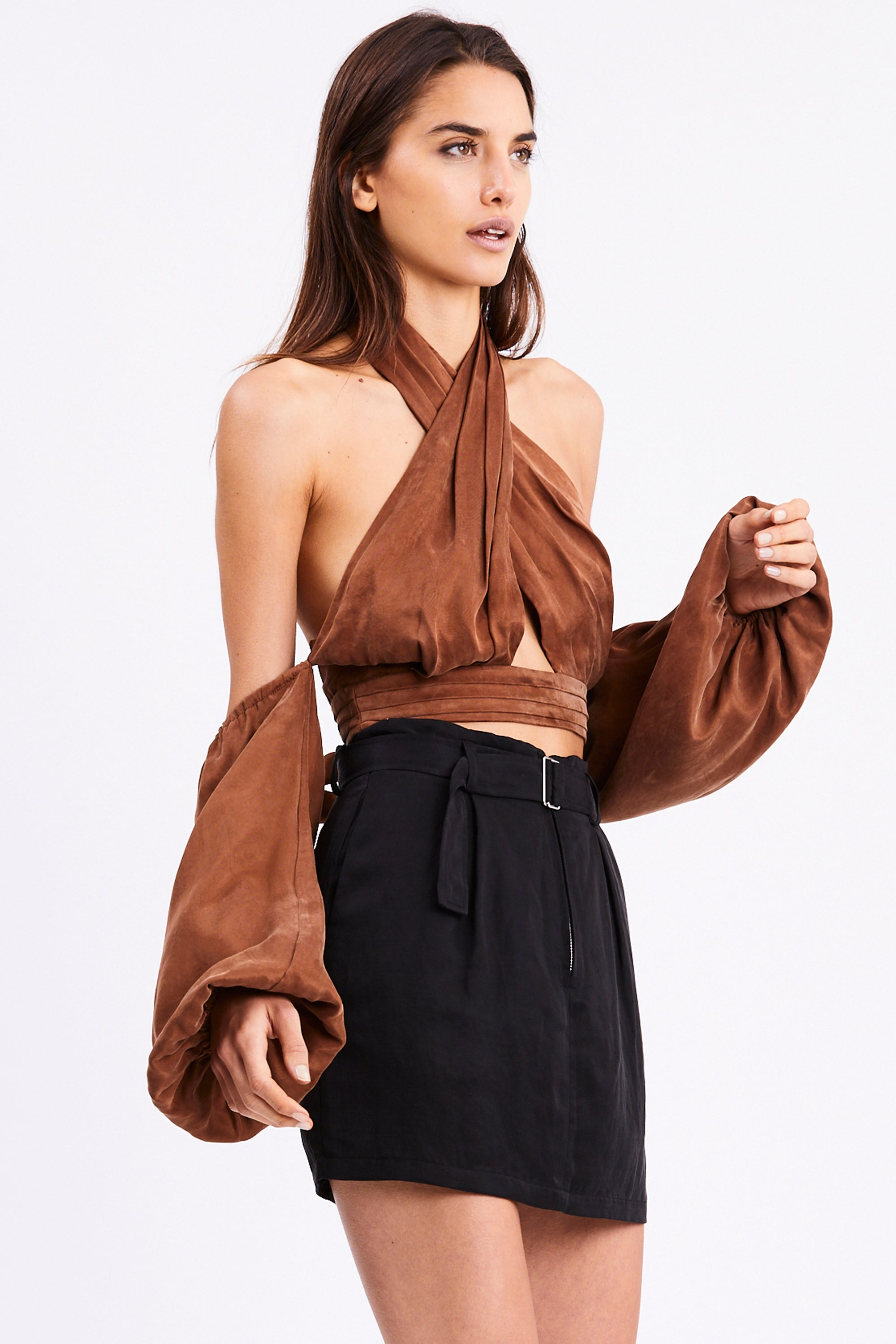 CROSS PATHS BLOUSE | BRICK