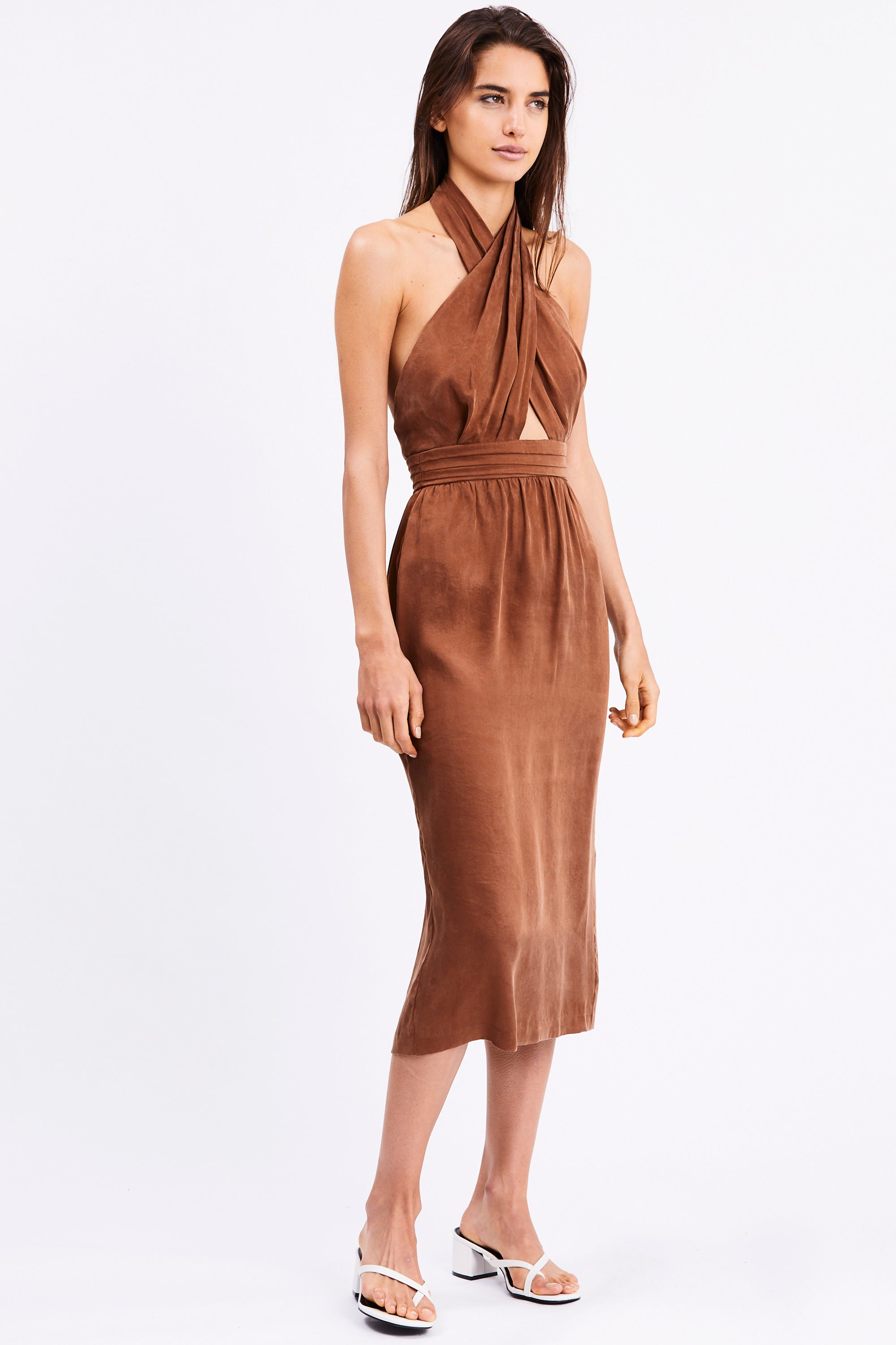 CROSS PATHS MIDI DRESS | BRICK