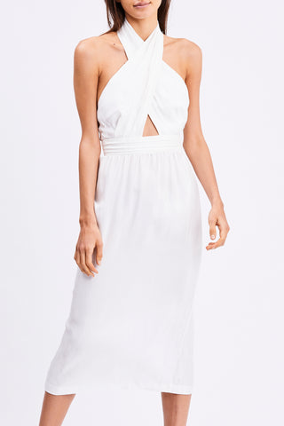 CROSS PATHS MIDI DRESS | OFF WHITE