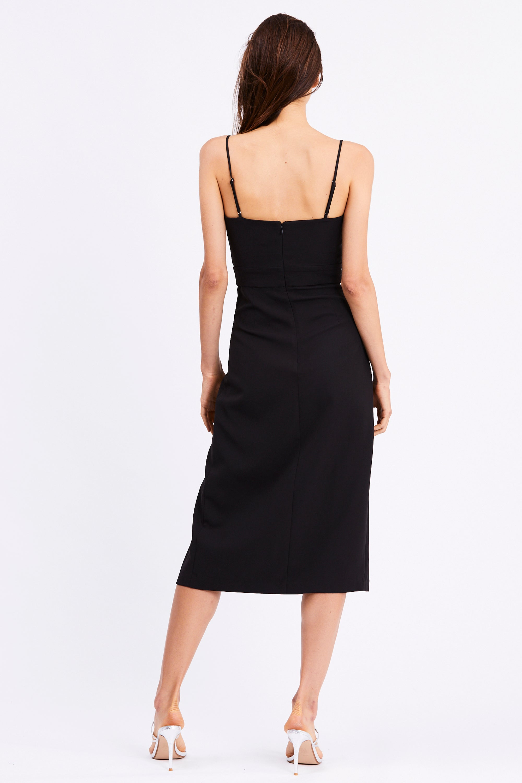 SPLIT UP MIDI DRESS | BLACK