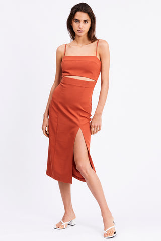 SPLIT UP MIDI DRESS | TERRACOTTA