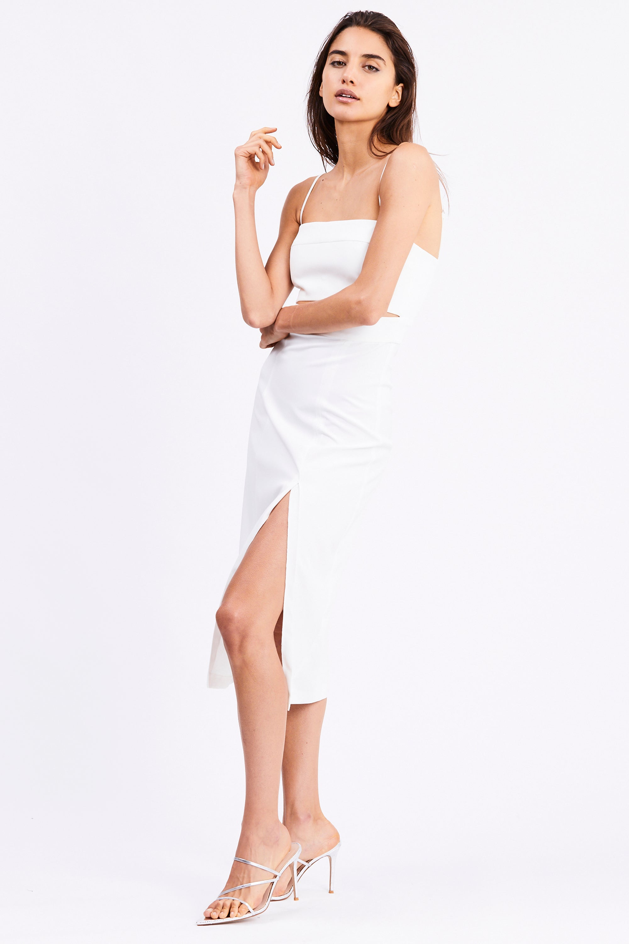 SPLIT UP MIDI DRESS | OFF WHITE