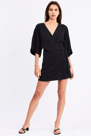 PROWL ROBE WRAP DRESS | BLACK LEOPARD