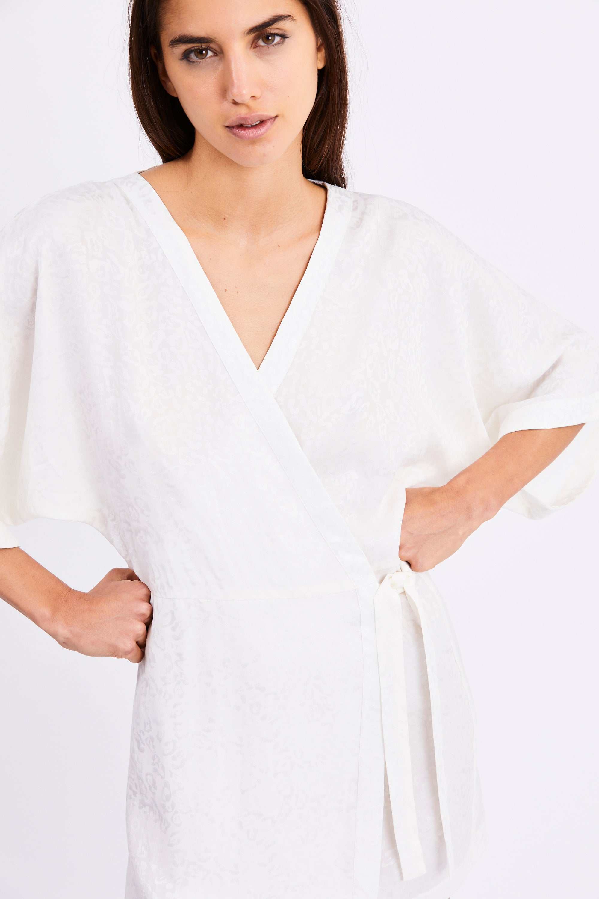 PROWL ROBE WRAP DRESS | WHITE LEOPARD
