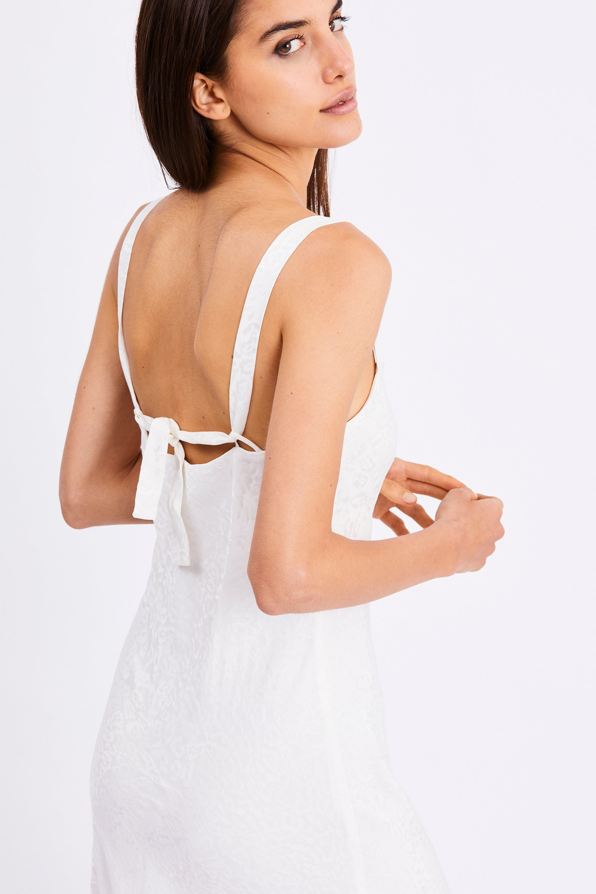 PROWL BIAS SLIP DRESS | WHITE LEOPARD