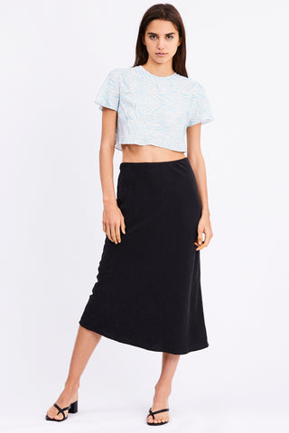 PROWL BIAS MIDI SKIRT | BLACK LEOPARD
