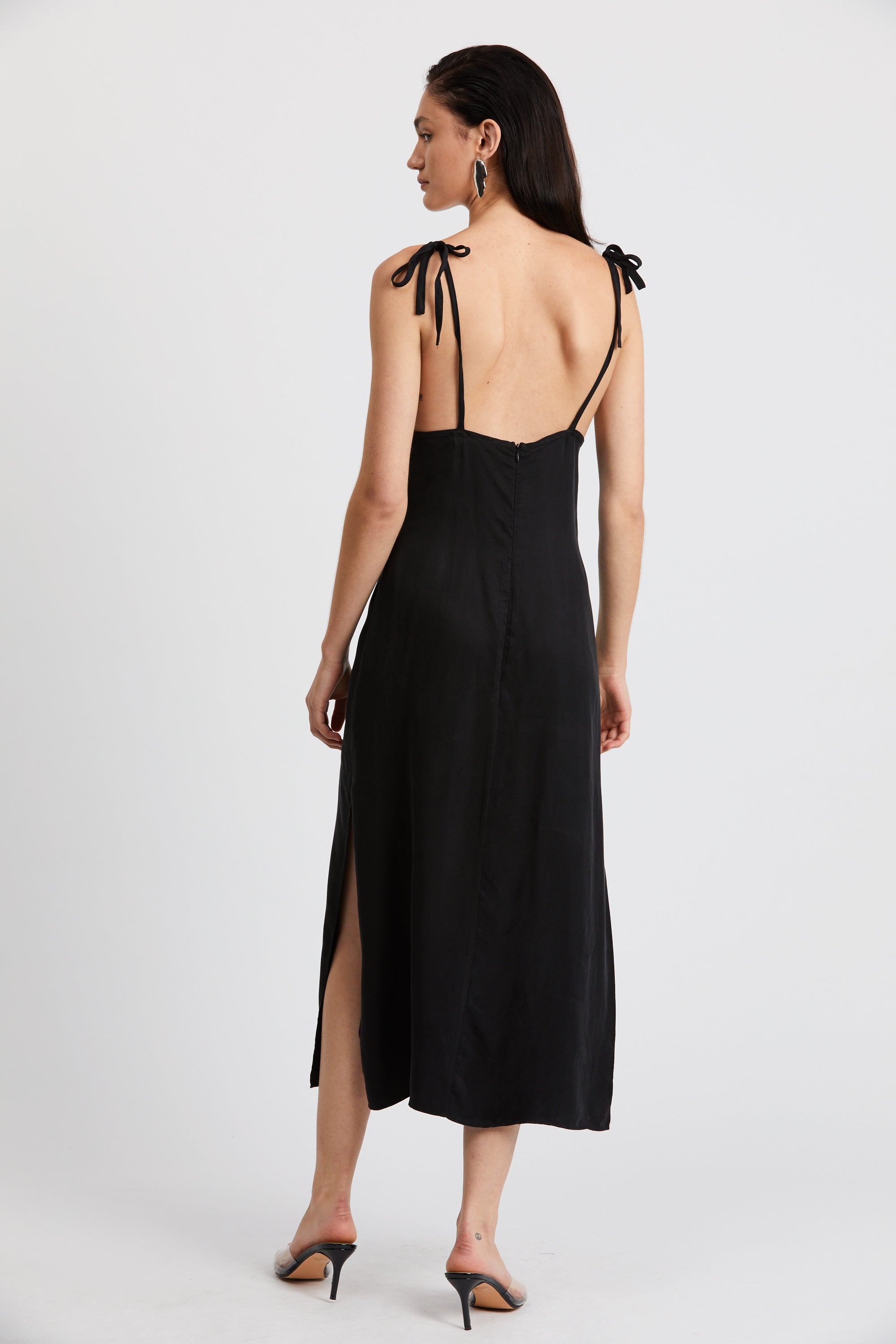CORSET CAMI SLIP DRESS | BLACK