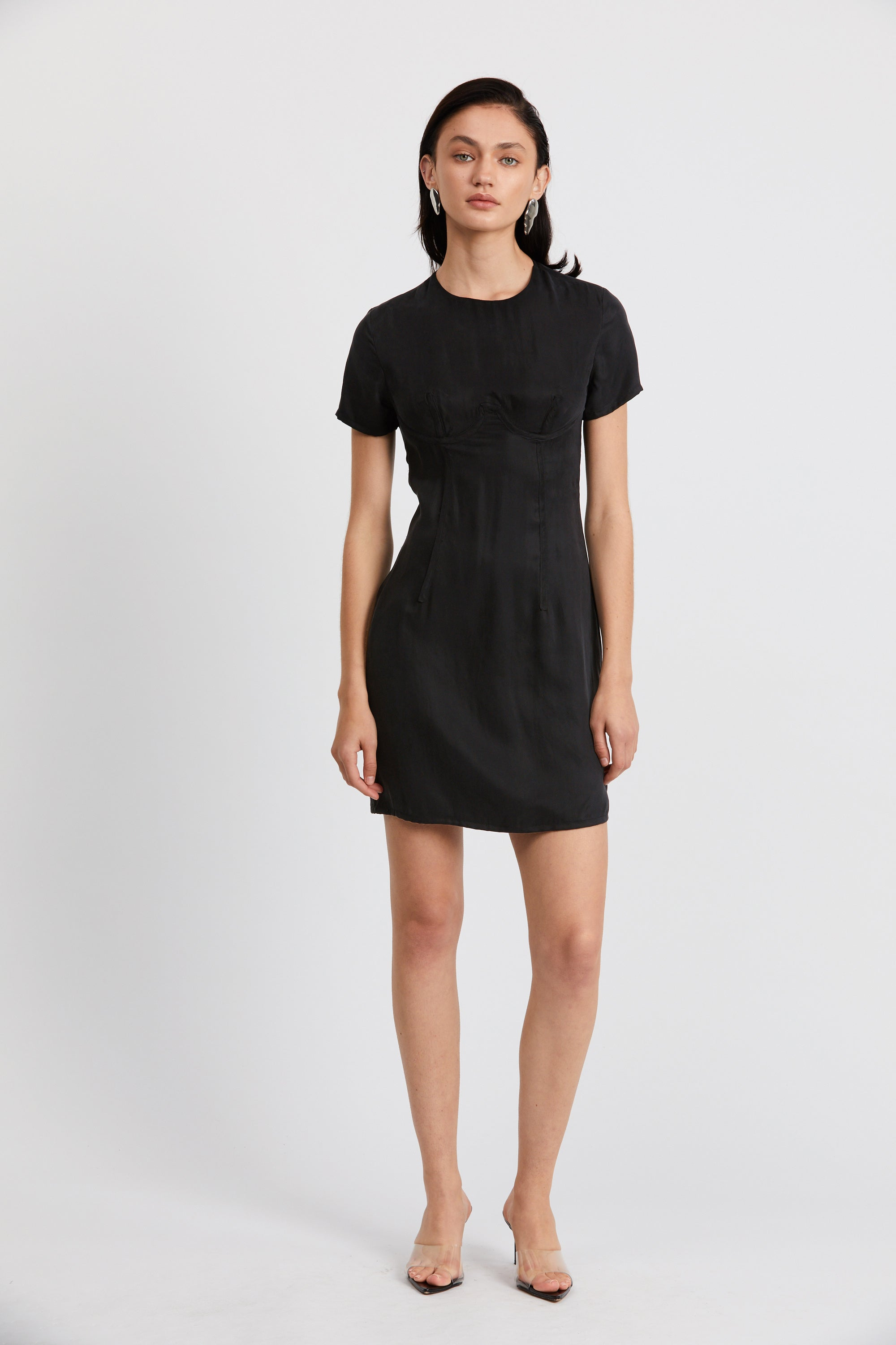 CORSET MINI TEE DRESS  | BLACK