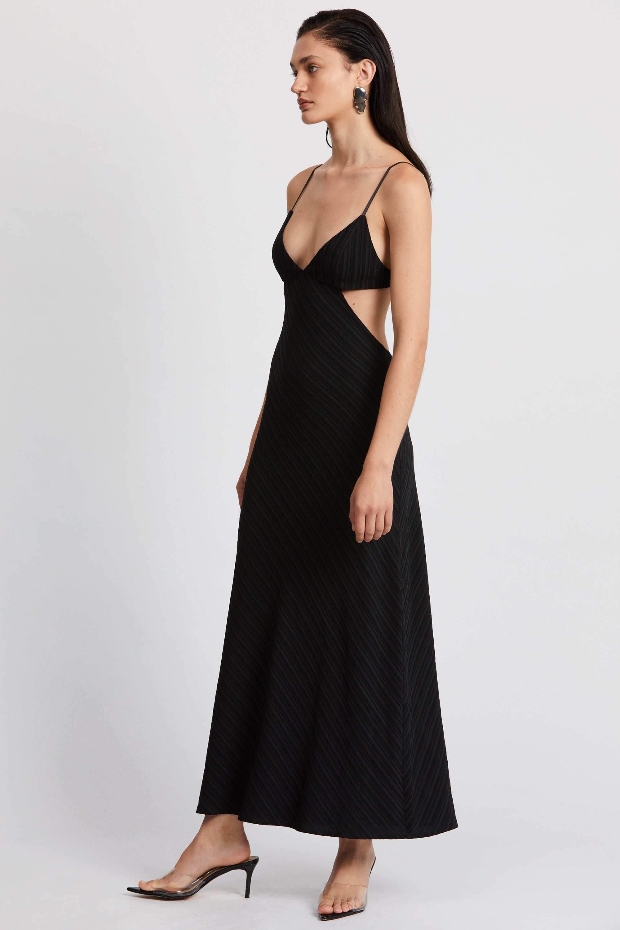 TIE DYE TRI MIDI DRESS | BLACK RIPPLE