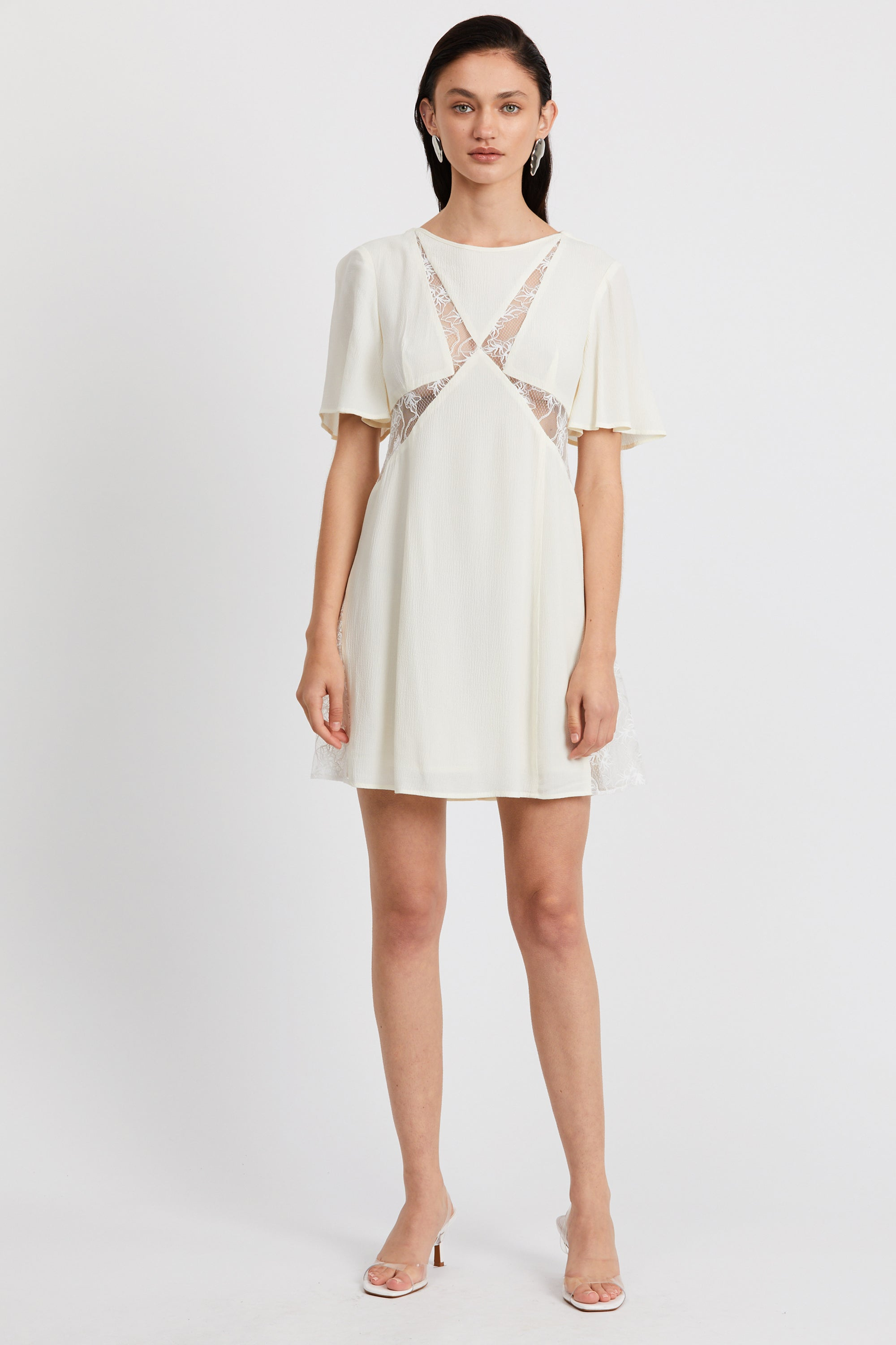 LOOK IN LACE TEE DRESS | CREAM