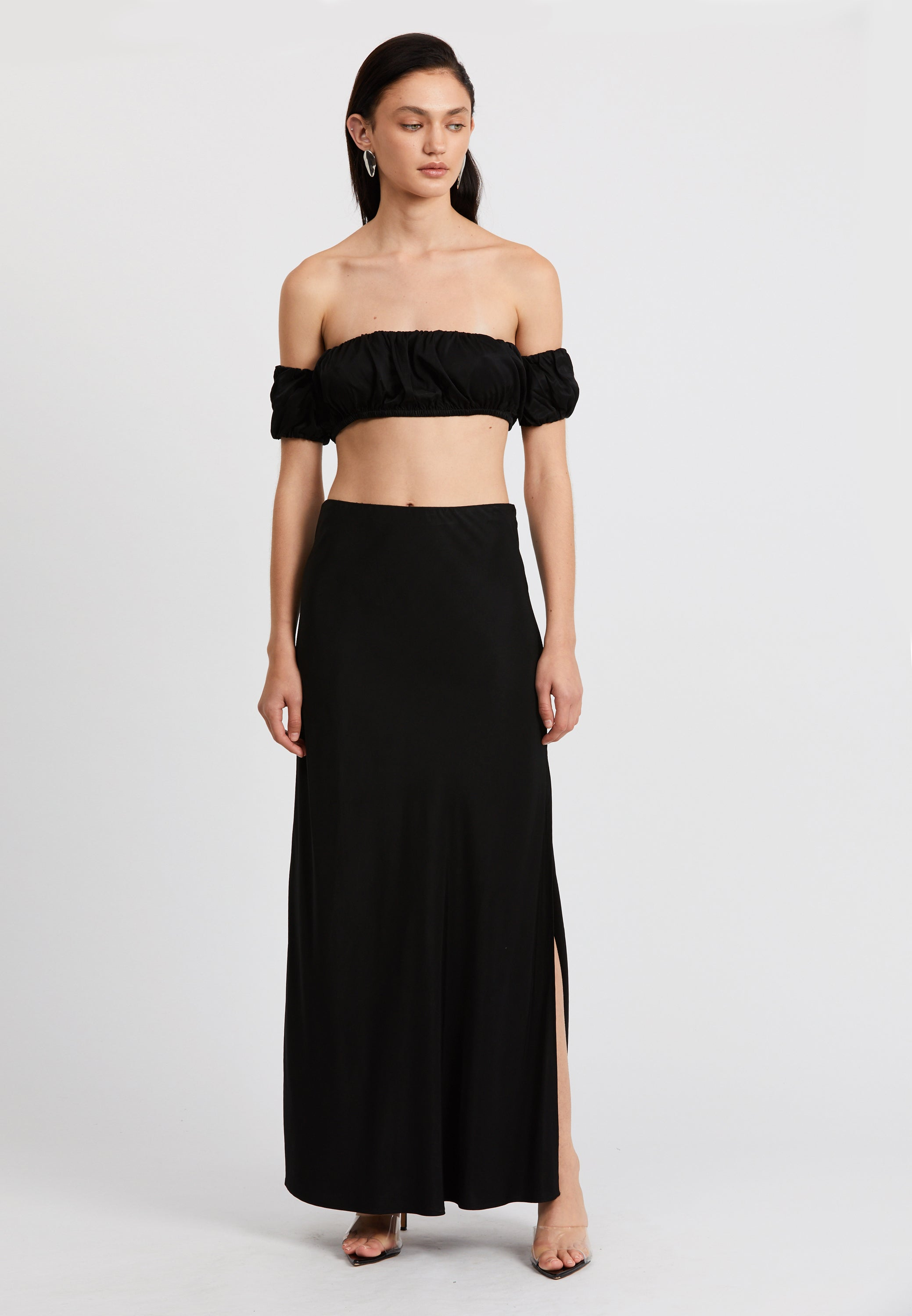 ROMANCER BIAS MAXI SKIRT | BLACK