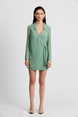 CRUSH WRAP COLLAR DRESS | SAGE