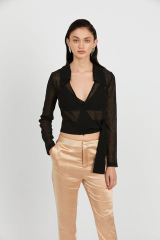 CRUSH WRAP COLLAR BLOUSE | BLACK