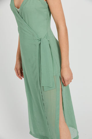 CRUSH WRAP MAXI DRESS | SAGE