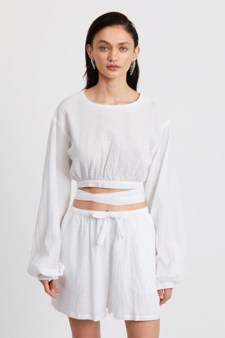 CLOUD WRAP UP BLOUSE | WHITE