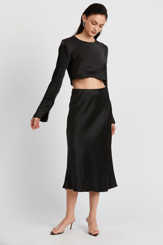 WILD FLOWERS BIAS MIDI SKIRT | BLACK