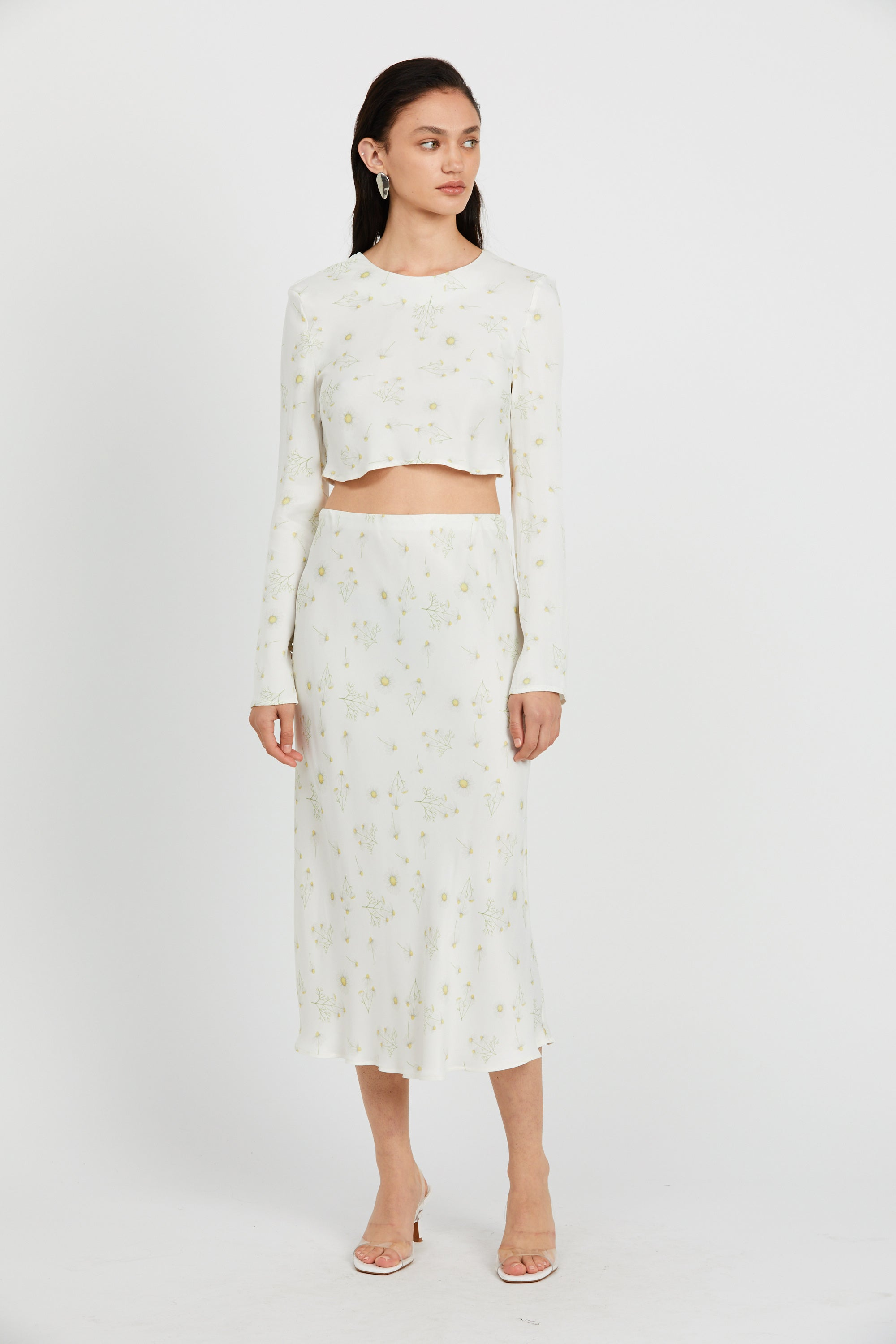 WILD FLOWERS BIAS MIDI SKIRT | DAISY