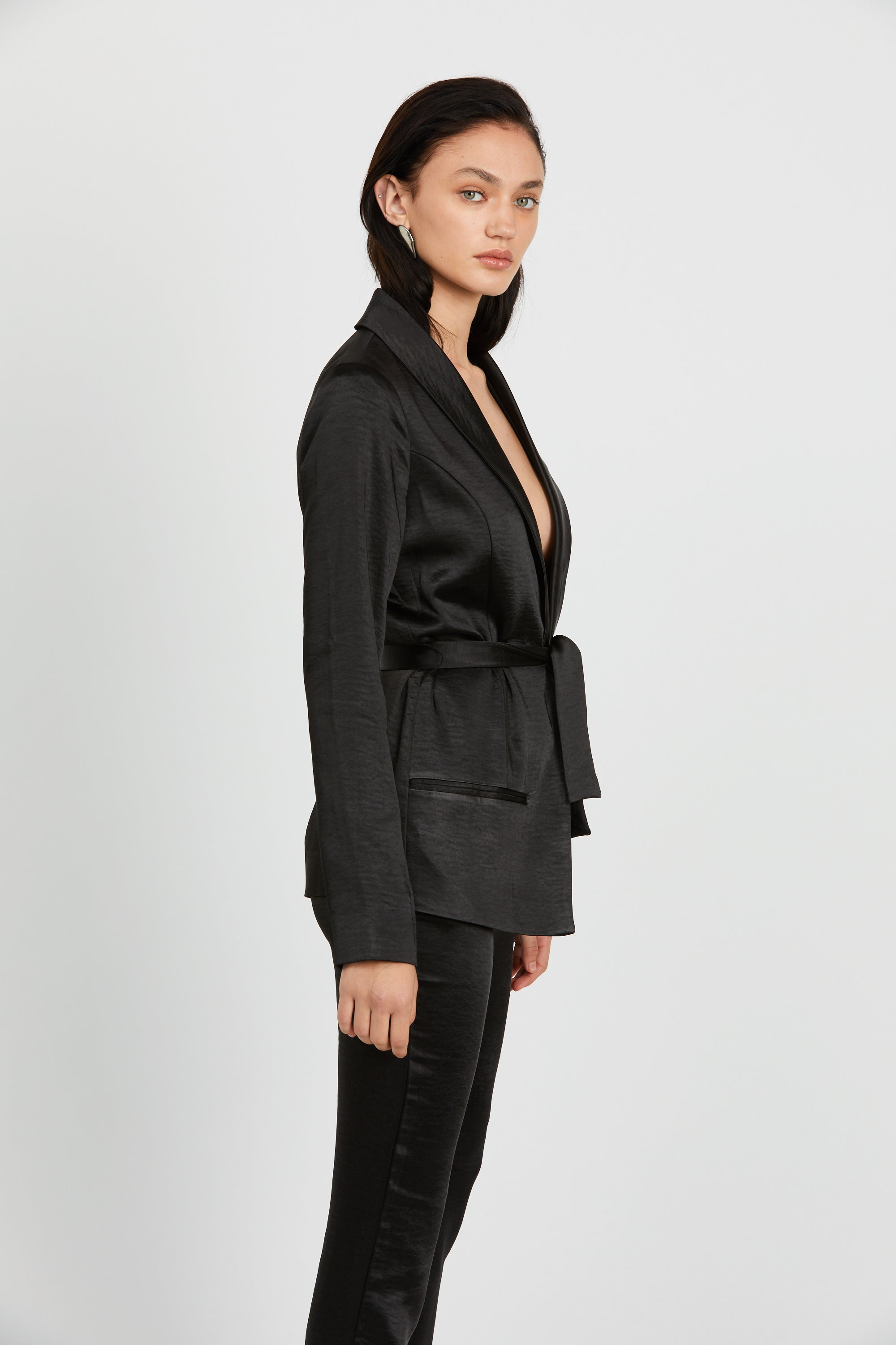 WILD FLOWERS ROBE BLAZER | BLACK