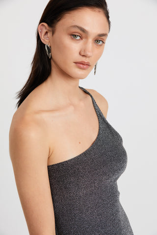 SHIMMER ONE SHOULDER MAXI | BLACK