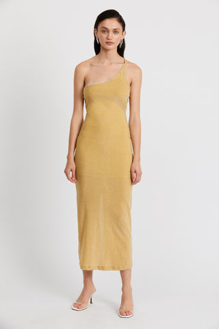 SHIMMER ONE SHOULDER MAXI | CITRUS