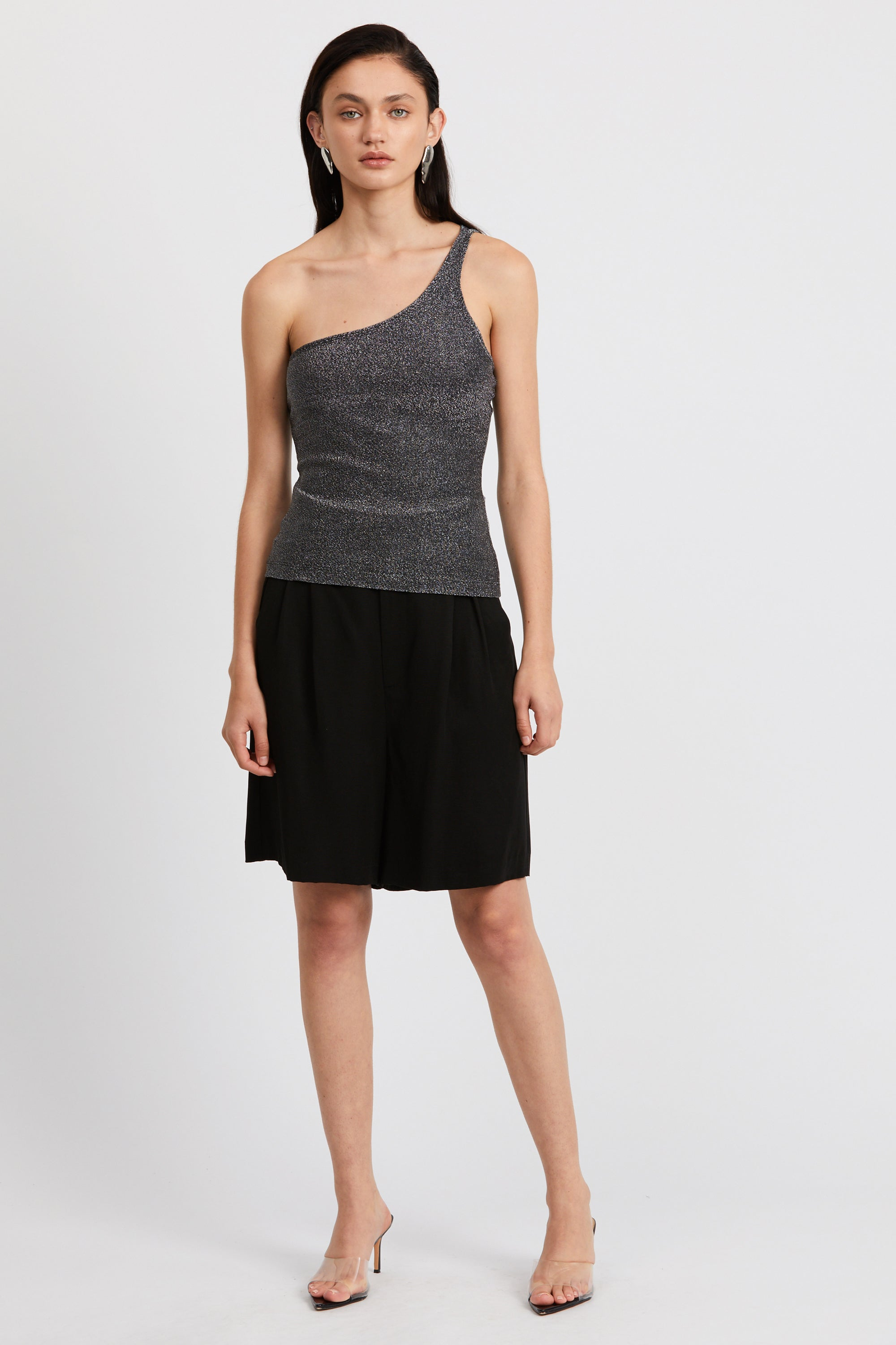 SHIMMER ONE SHOULDER CAMI | BLACK