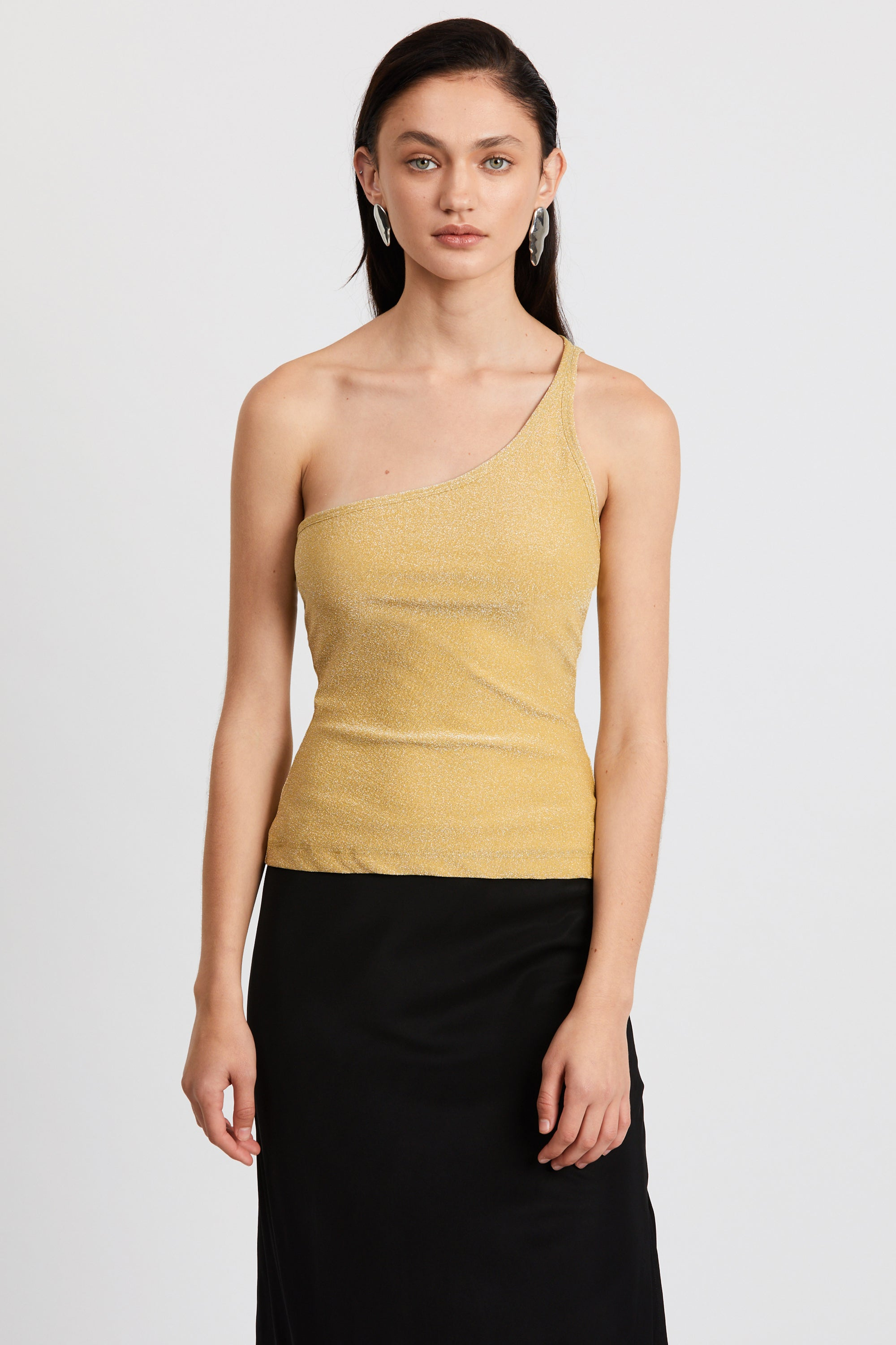 SHIMMER ONE SHOULDER CAMI | CITRUS