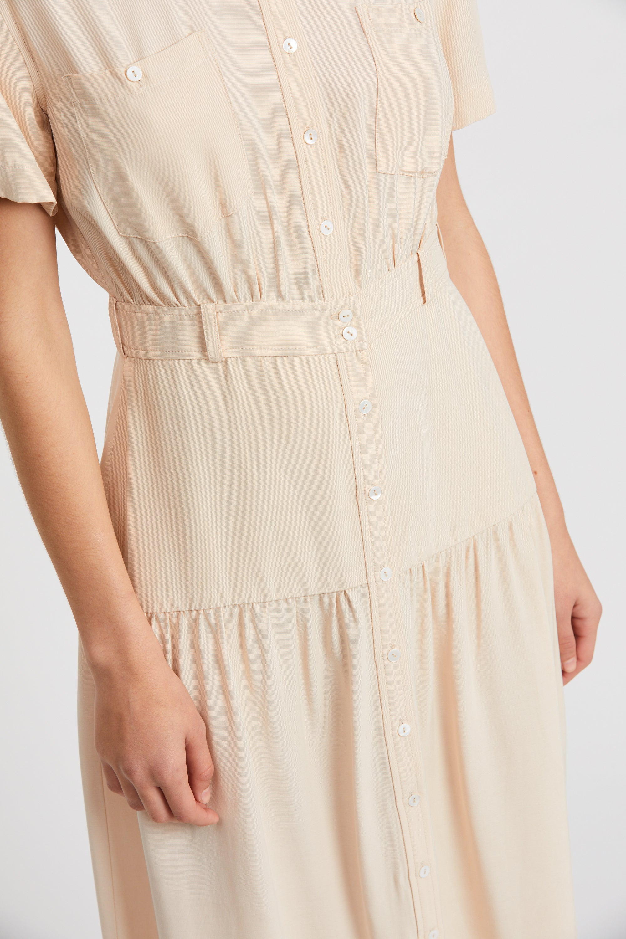 LE MODE MIDI SHIRT DRESS | CREAM