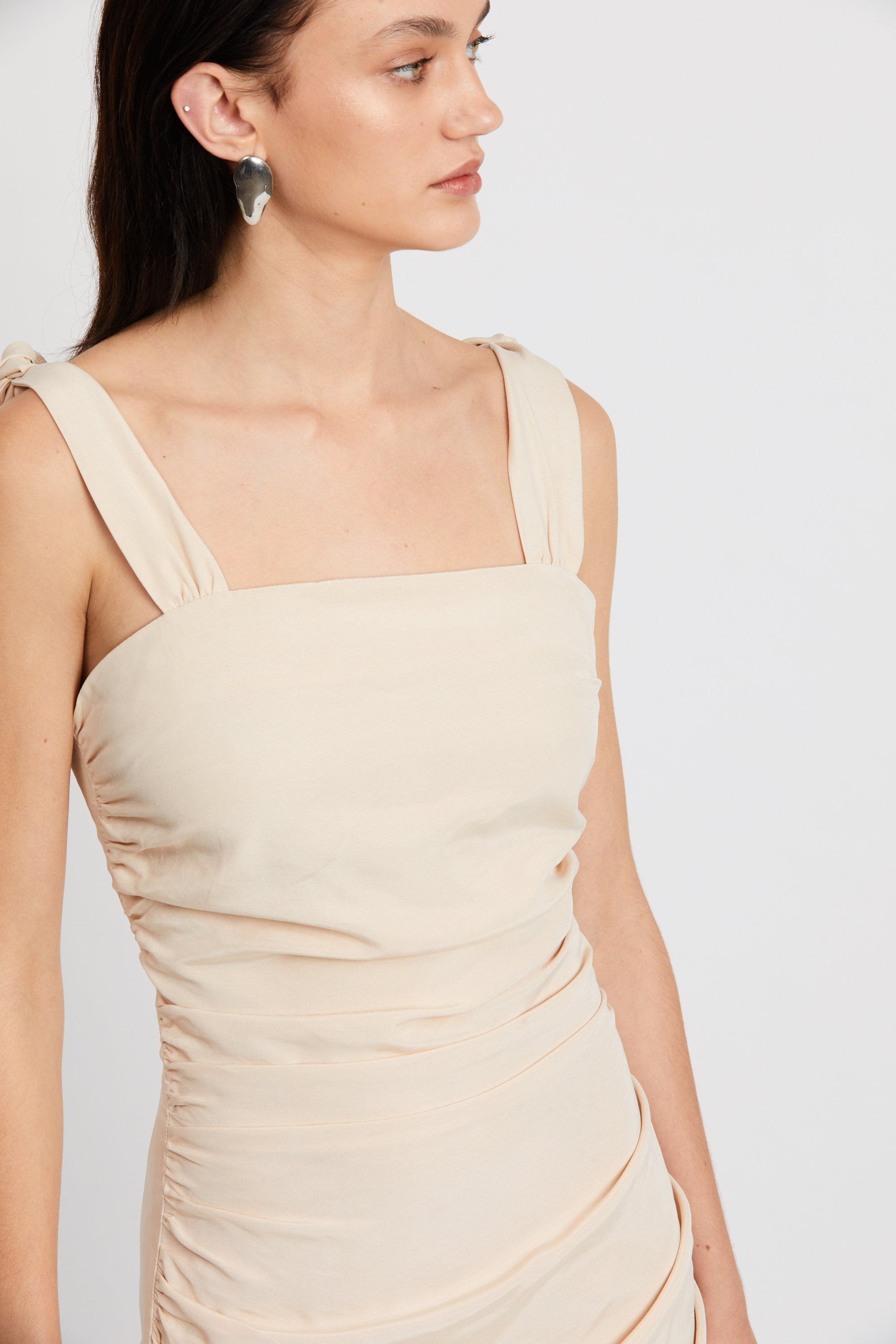 LE MODE TIE SHOULDER DRESS | CREAM