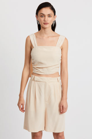LE MODE TIE SHOULDER CAMI | CREAM