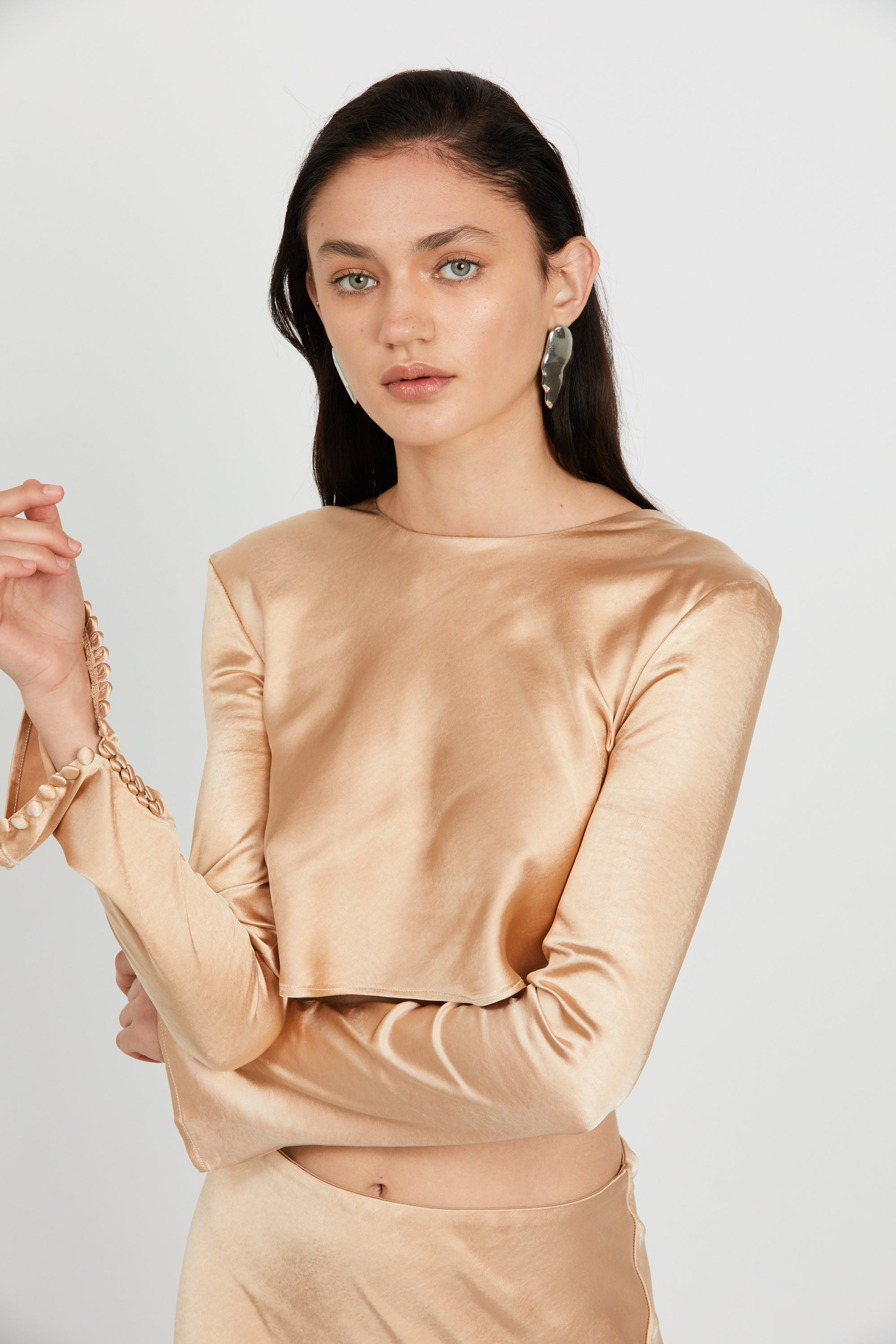 WILD FLOWERS BUTTON CUFF BLOUSE | ROSE GOLD
