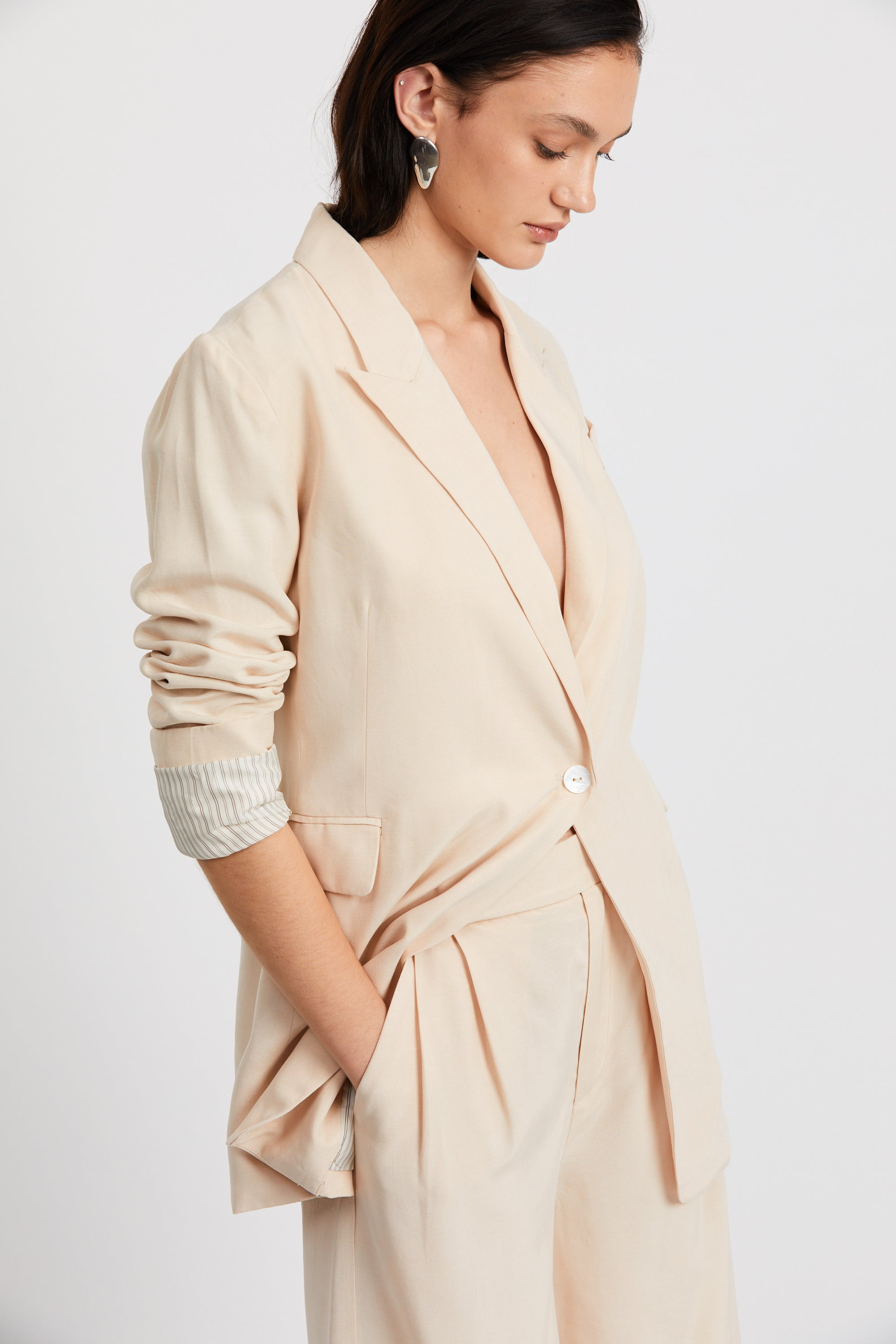 LE MODE LONGLINE BLAZER | CREAM