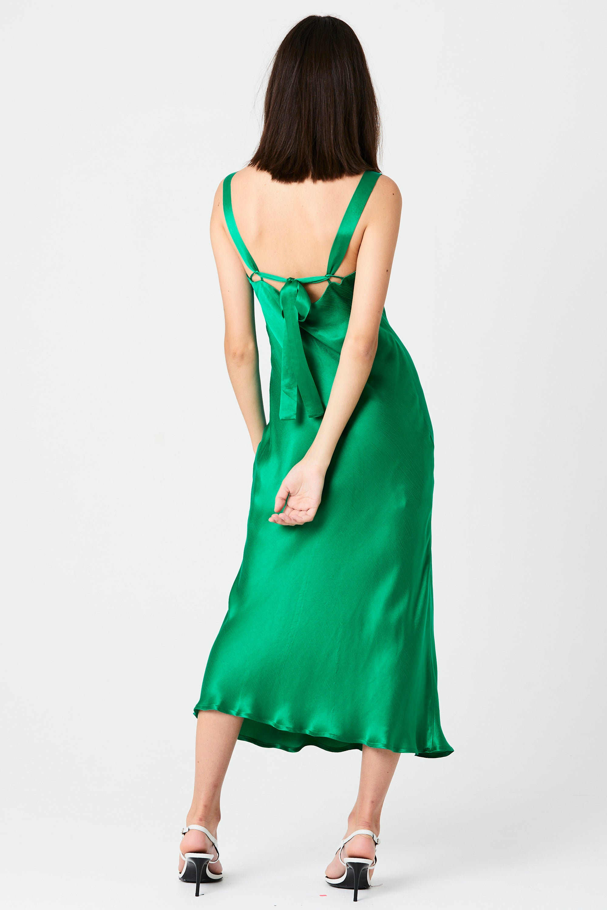 INTRIGUE BIAS SLIP DRESS | EMERALD