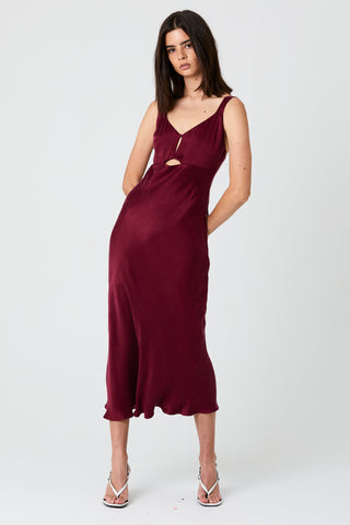 INTRIGUE BIAS SLIP DRESS | PLUM